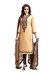 Siya Fashion women's Chanderi Party Wear Unstitched Dress Material(si722_ Cream color)