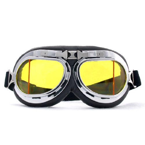 Retro Design Air Force Army Military Aviator Motorcycle Biker Cruisers Helmet Goggles Chrome Frame Sun UV Wind Eye Protect Goggles