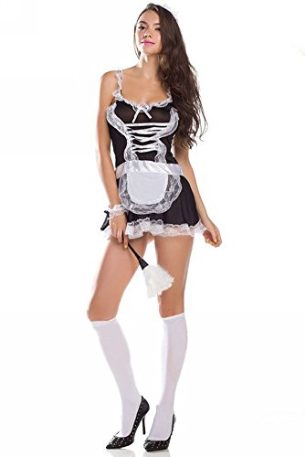 Dayan Unisex-Baby Maid Costume Babydoll Bow Tie Lingerie Deep-V White