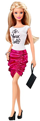 "Barbie Fashionistas Barbie Doll, Pink Skirt and ""Be Yourself"" Shirt"
