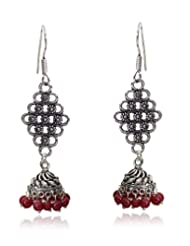 Beautiful Ruby Red Color Small Beads Antique Silver Touch Dangle & Drop Earrings By Lazreena