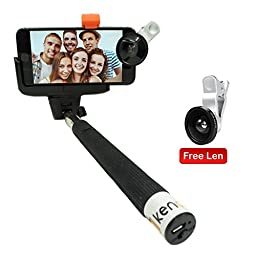 Selfie Stick,with free len,Kengadget monopod with adjustable holder fit for iphone 5,6,6 Plus,android phone,samsung galaxy s6,s5.built-in Bluetooth Remote Shutter easy for Self Shooting & self-Portrait.Ideal present gifts for her,men,women,him,boyfriend.