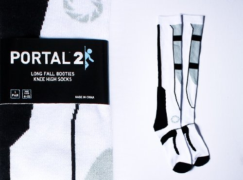 Portal 2 Black/White One Size Long Fall Socks