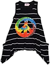 Purple Orchid - Little Girls Striped Sleeveless Top, Black 28919-4T