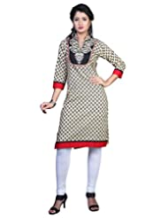 Sareeshut Cream Color Cotton Fabric Readymade Printed Kurti - B00QRWHQES