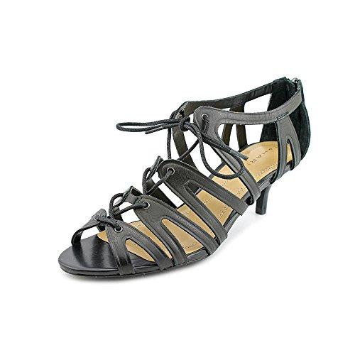 Tahari Dara Damen Schwarz Leder Kleid Sandalen Schuhe Neu EU 36,5