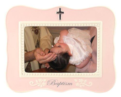 "Malden Ceramic Milestone Picture Frame, Pink Baptism, 4"" x 6"""