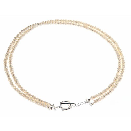 Double Row Pearl Necklace with Cushion Toggle
