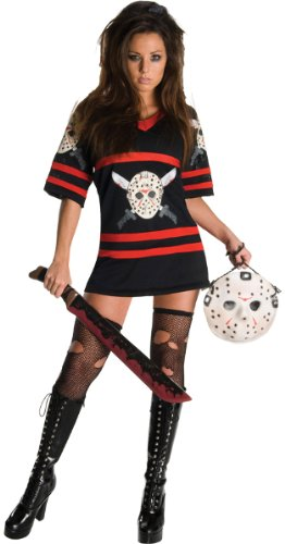 Women'S Costume: Miss Voorhees- Small *** Product Description: Sexy Twist On The Friday The 13Th Movies. Black And Red Dress With Jason Vorhees Hockey Mask Graphic On Front. Includes Hockey Mask Handbag. Machete, Stockings And Boots Not Included. ***