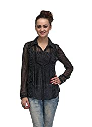 IRALZO Sheer Poly Georgette Shirt In Regular Fit