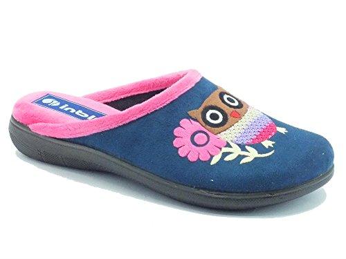 Pantofole InBlu per donna in tessuto blu con gufetto fantasia (Taglia 37)