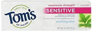 Tom's of Maine Maximum Strength Sensitive Natural Toothpaste, Soothing Mint, 4-Ounce Tubes (Pack of 6)