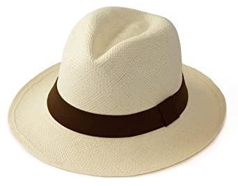 Traditional Panama hat foldable with BROWN band - Fair trade and hand woven in Ecuador (54)