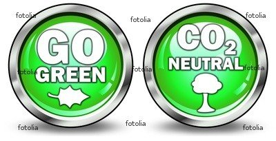 """Wallmonkeys Peel and Stick Wall Graphic - Glossy 3D Style Buttons """"go Green/co2 Neutral"""" - 18""""W x 9""""H"""