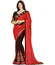 Om Shantam Sarees womens Embroidered Bollywood Georgette saree with Blouse(OMCOFFEEZRN_Coffee)