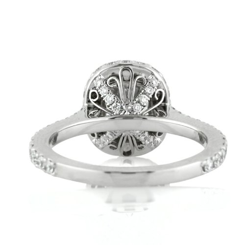 intricate basket work on Mark Broumand cushion cut halo engagement ring