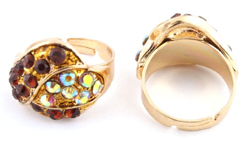 Ladies Two Tone Gold Overlapping Style Adjustable Finger Ring