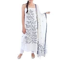 Kiara Crafts Women's Cotton Silk Unstitched Dress Material (kc-013_White_freesize)