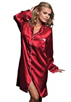 Amoureuse Plus Size Satin Button Front Sleepshirt (Classic Red,3X)