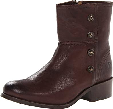 FRYE Women's Lynn Military Short Boot,Dark Brown,5.5 M US
