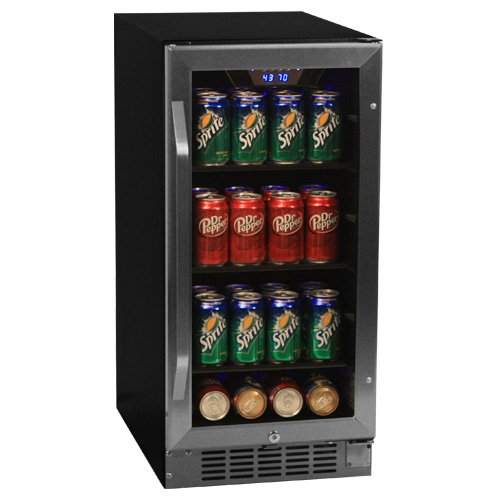 EdgeStar 80 Can Built-In Beverage Cooler - Black/Stainless Steel (Glass Front Mini Fridge Led compare prices)