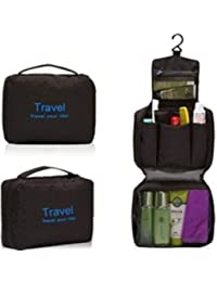 Everyday Desire Travel Cosmetic Makeup Toiletry Case Wash Organizer Storage Pouch Hanging Bag - Black