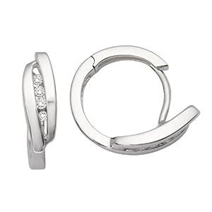 Miore - MM9035E - Boucles d'Oreilles Créoles Femme - Or blanc 375/1000 (9 carats) 2.8 gr - Diamant 0.11 cts