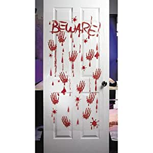 Bloody - Beware - plastic Halloween Wall or Door Decor (5 feet x 30 inch)