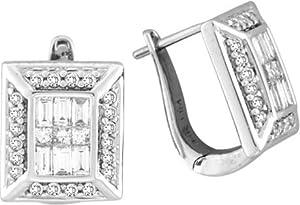 Baguette Diamond Earrings White Gold