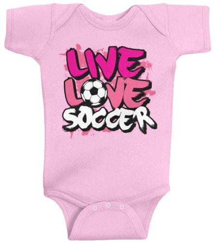 Threadrock Baby Girls' Live Love Soccer Bodysuit 6M Pink front-1072191