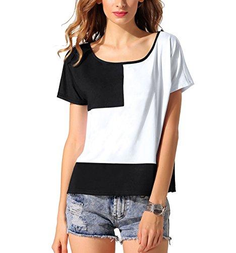 Yiyou -  T-shirt - Maniche corte  - Donna Nero/Bianco Large