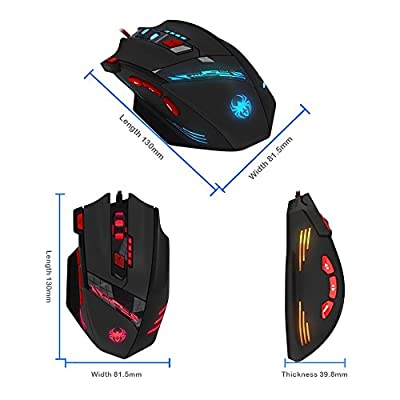 DLAND Zelotes T90 Professional 9200 DPI High Precision USB Wired Gaming Mouse,8 Buttons,With 7 kinds modes of LED Light, Weight Tuning Set Compatible with Windows 7, 8, XP, Vista, ME, 2000 and so on.