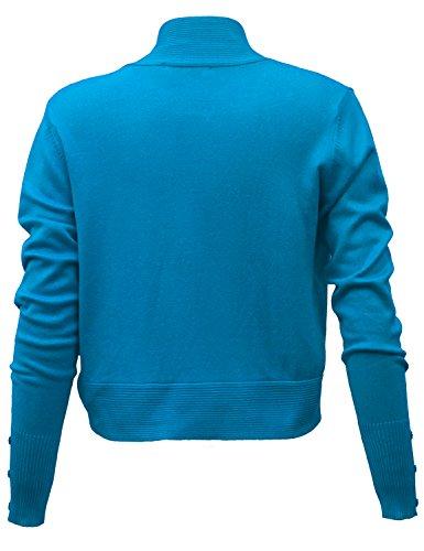JUESE 1950's Evening Party Style Long Sleeve Shrug Bolero (S, Blue)