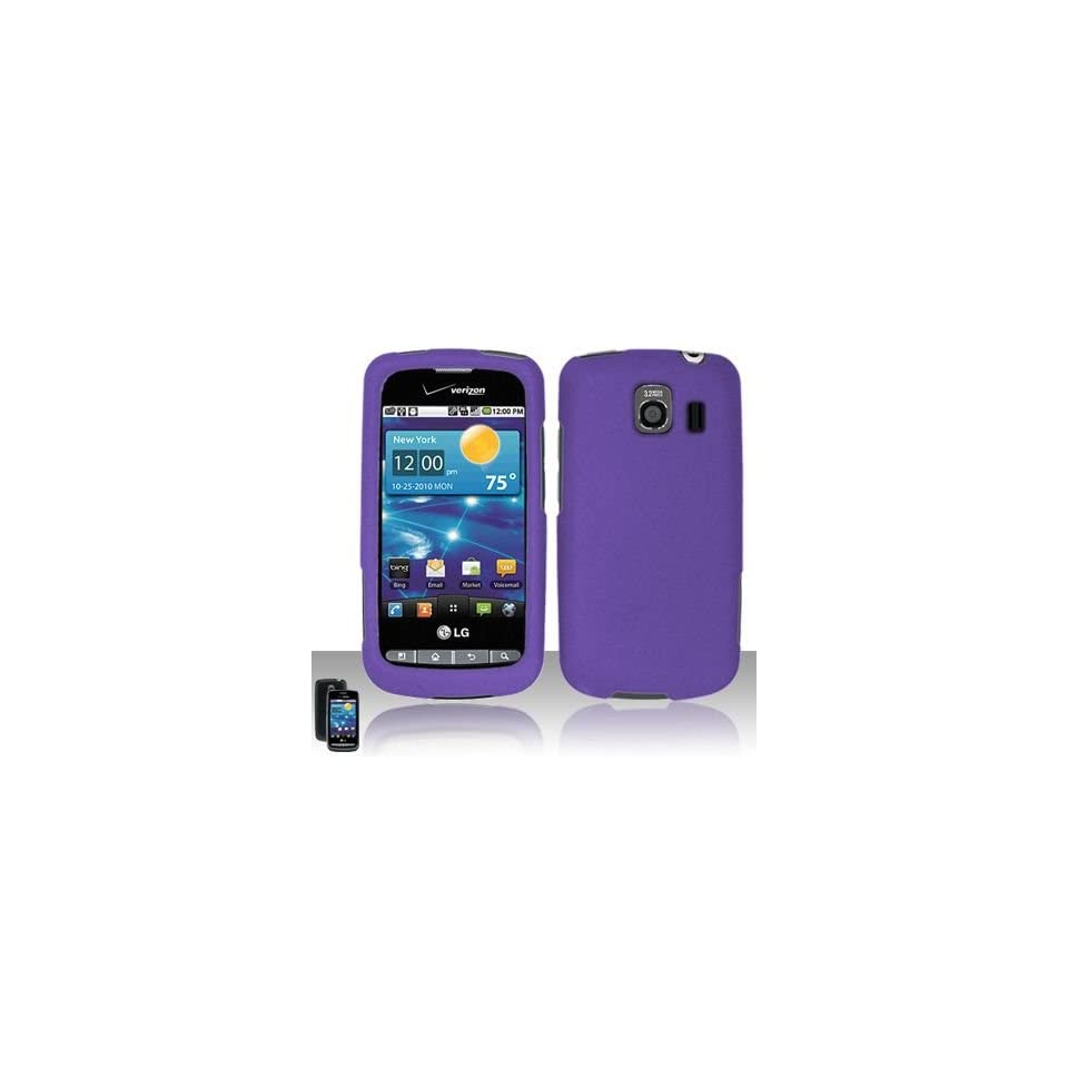 Purple Soft Silicone Skin Gel Cover Case for Lg Vortex Vs660 + Lcd Screen Guard + Microfiber Pouch Bag
