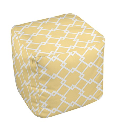 E by design FG-N10-Lemon_White-13 Geometric Pouf - 1