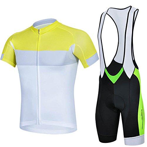 shengbaohang estate maglia ciclismo da uomo a maniche corte Top Racing Team Pantaloncini ciclismo Top + Bavaglino Set 06, White, M