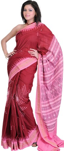 Exotic India Maroon and Pink Hand Woven Bomkai Sari from Orissa  Maroon