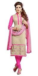 Craftliva Beige & Pink Embroidery Chanderi Cotton Dress Material