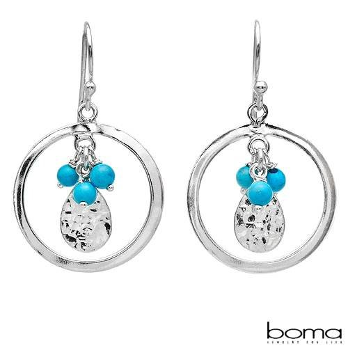 BOMA Stylish Circle Earrings With Genuine Turquoises Well Made in 925 Sterling silver Length 33mm