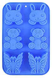 Cookstyle 6 Cups Non-Stick Silicone Mould Tray for Muffins, Cupcakes, Ice Cream, Jelly, Cookies etc - Cute Pattern for Kiddies
