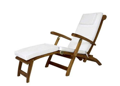 Outdoor Patio Steamer Chair Cushion   White