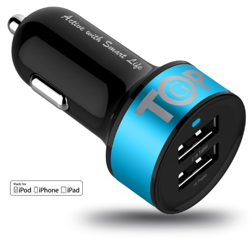 TopG Apple Certified - Lifetime Warranty - Dual USB Ports 3.1A Portable USB Car Charger for iPhone 5 5S 5C 4 4S,iPad 4 3 2,iPad mini,iPad air Battery Power Supply for All Apple Device (Lightning Cable/Adapter Not Included)- Premium MFI Quality (Black+Ocean Blue)