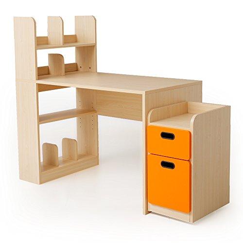 学習机 勉強机 チェスト 引き出し サイドラック 本棚 可動棚 幅111cm ナチュラル×オレンジ