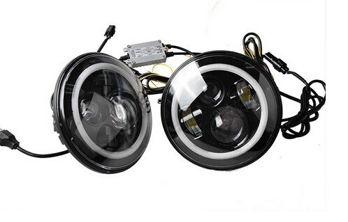 Suparee 2Pcs 7 Inch Led Headlamps Car Led Work Lamps Led Round Lights Auto Fog Lights With Angel Eye For Jeep 4X4 Suv