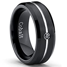 buy Two Tone Black Cobalt Men'S Wedding Band Ring With 0.04 Real Black Diamond, Size 9