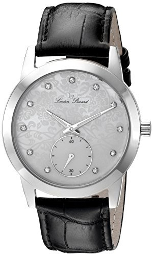 Lucien Piccard Reloj de cuarzo para mujer con correa de piel color blanco esfera analógica pantalla y negro lp-40037-02MOP