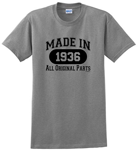 80th Birthday Gift Made 1936 All Original Parts T-Shirt XL Sport Grey