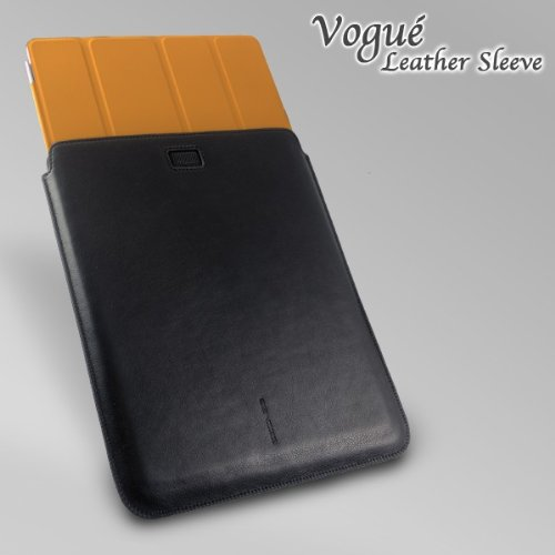 Vogué Leather Sleeve (fits iPad or iPad2 w/smart cover) - Black