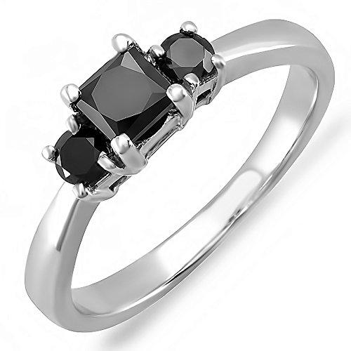For sale 0.75 Carat (ctw) 14K White Gold Princess & Round Black Diamond 3 Stone Engagement Ring 3/4 CT (Size 7)