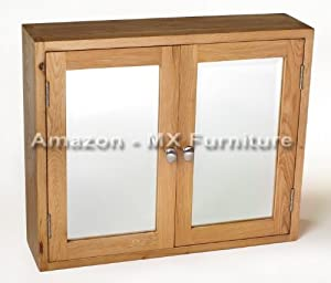 New Natural Solid Oak Mirrored Bathroom Cabinet with 2 doors